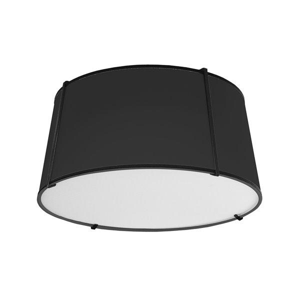 Plafonnier Trapezoid moderne/contemporain de 16 po noir à ampoule à incandescence de Dainolite