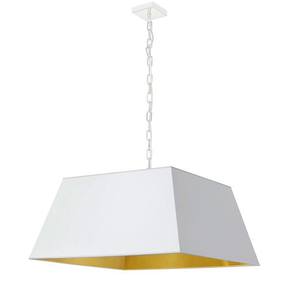 Luminaire suspendu moderne/contemporain blanc et doré Milano par Dainolite, 26 po