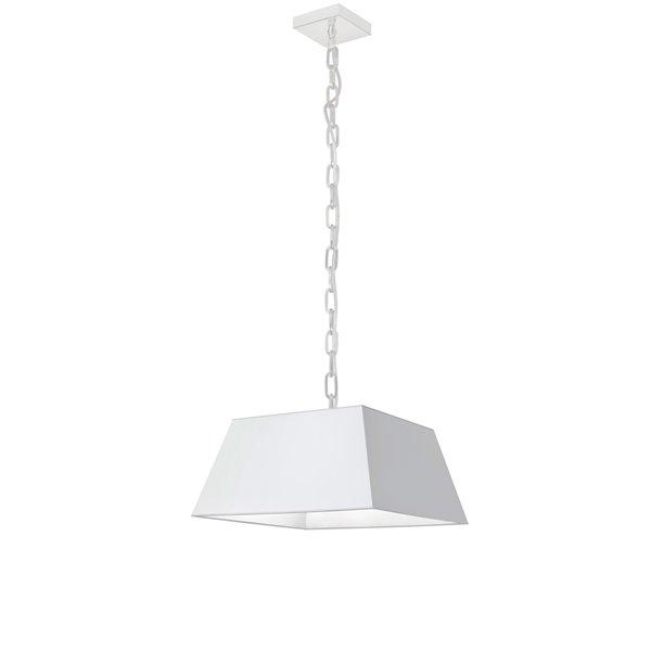 Luminaire suspendu moderne/contemporain carré blanc Milano par Dainolite, 14 po