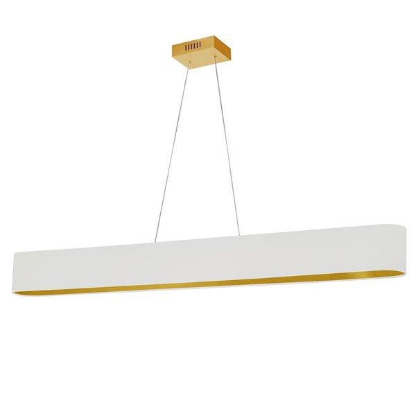 Luminaire suspendu DEL moderne/contemporain blanc et doré Aubrey par Dainolite de 51 po
