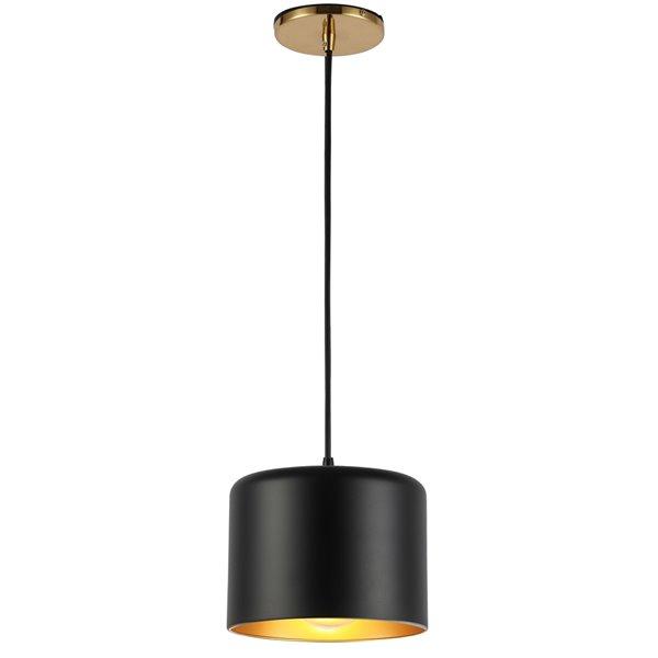 Luminaire suspendu transitionnel noir mat et laiton antique Emilia par Dainolite de 8 po