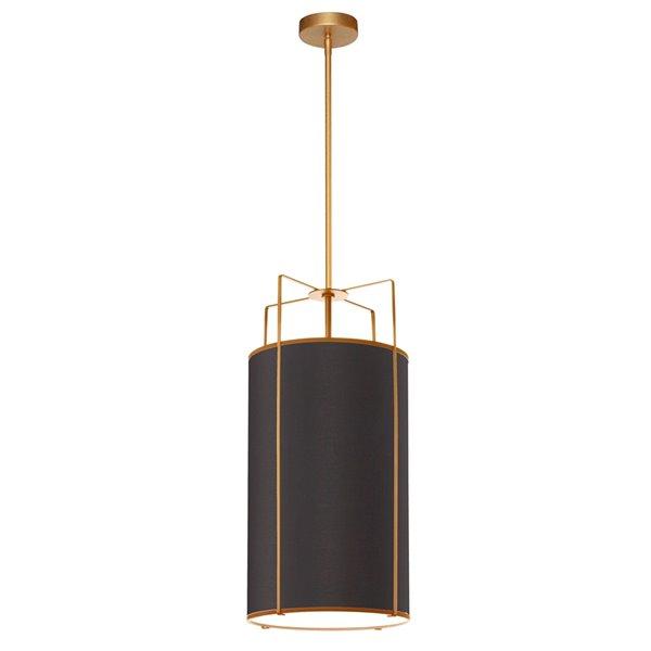 Luminaire suspendu moderne/contemporain noir et or Trapezoid par Dainolite de 12 po