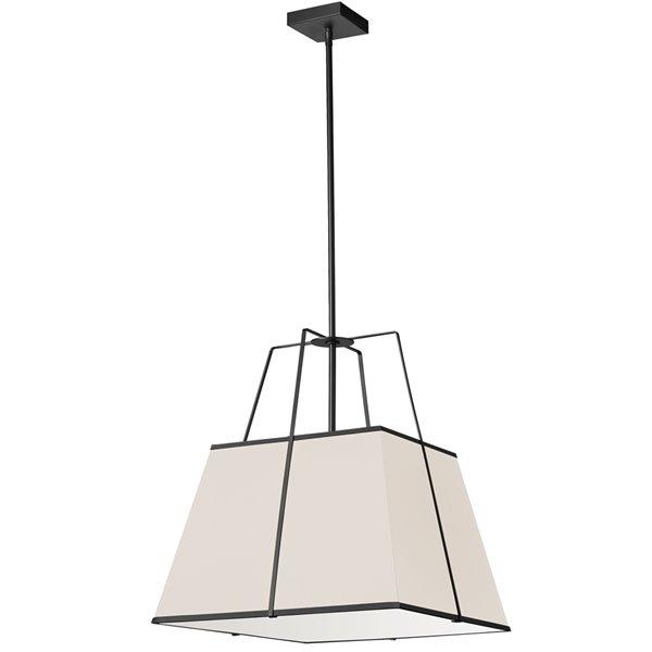 Luminaire suspendu moderne/contemporain crème et noir Trapezoid par Dainolite de 18 po