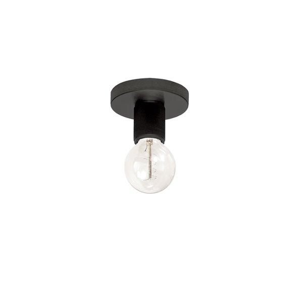 Plafonnier Roswell de 4,75 po de style moderne/traditionnel noir mat à ampoule à incandescence de Dainolite