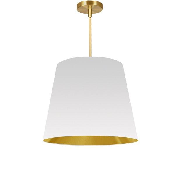 Luminaire suspendu moderne/contemporain blanc et doré Oversized Drum par Dainolite de 20 po