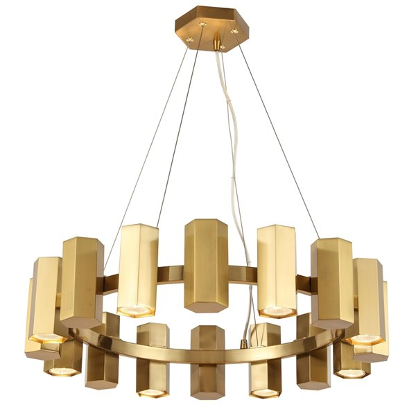 Lustre moderne/contemporain Centella en laiton vieilli à 16 lumières par Dainolite