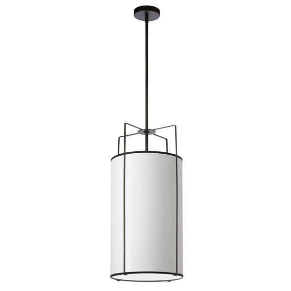 Luminaire suspendu moderne/contemporain blanc et noir Trapezoid par Dainolite de 12 po