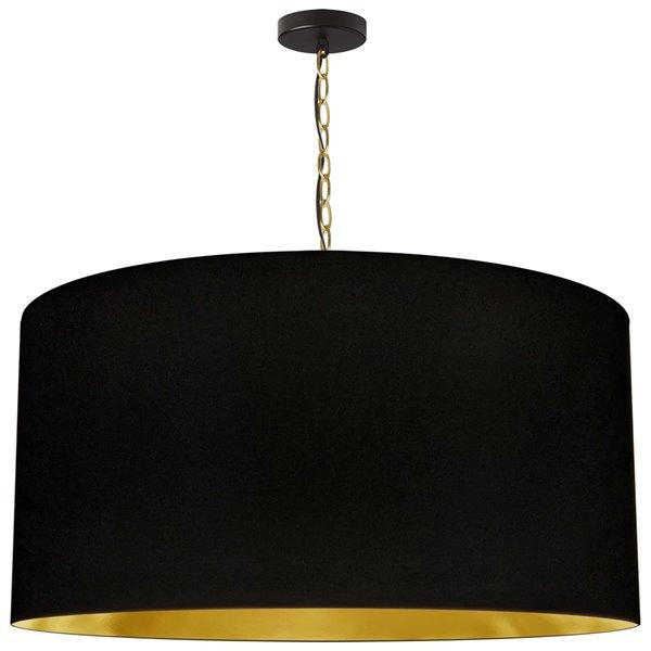 Luminaire suspendu transitionnel de 32 po noir et doré Braxton par Dainolite