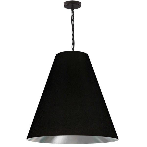 Luminaire suspendu transitionnel noir et argent Anaya par Dainolite, 26 po