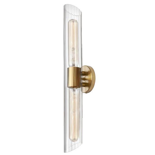 Luminaire pour meuble-lavabo transitionnel à 2 lumières de 25 po Samantha par Dainolite, laiton antique