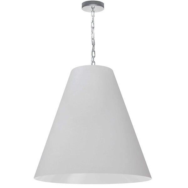 Luminaire suspendu transitionnel blanc et chromé Anaya par Dainolite, 26 po