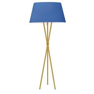 Lampe sur pied tripode Gabriela par Dainolite de 61,5 po en laiton vieilli avec abat-jour bleu