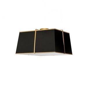 Plafonnier Trapezoid de 16 po de style moderne/contemporain noir à ampoule à incandescence de Dainolite