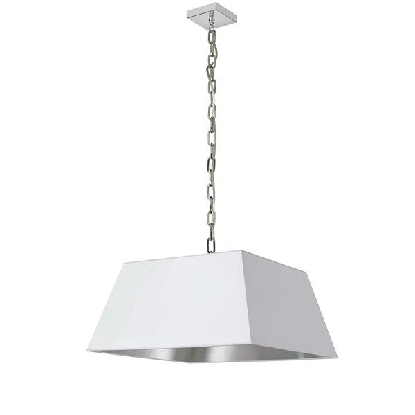 Luminaire suspendu moderne/contemporain blanc et argent Milano par Dainolite de 20 po