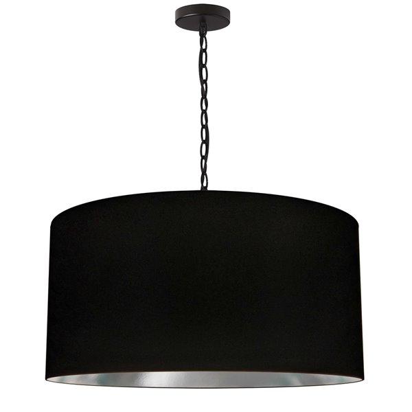 Luminaire suspendu transitionnel noir et argent Braxton par Dainolite de 26 po