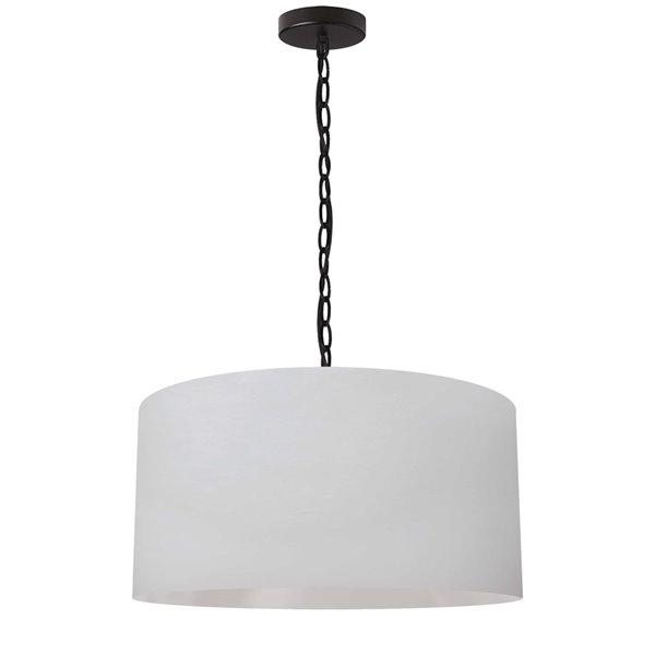 Luminaire suspendu transitionnel blanc et noir Braxton par Dainolite de 20 po