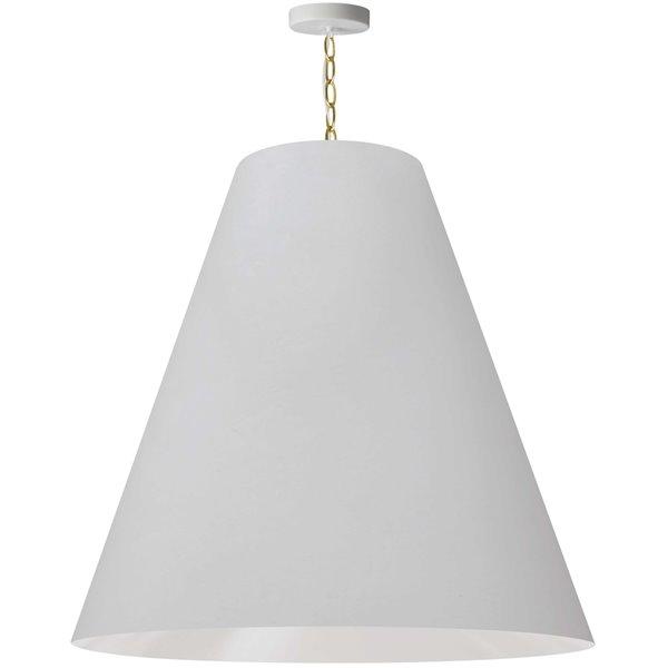 Luminaire suspendu transitionnel blanc et laiton antique Anaya par Dainolite de 32 po