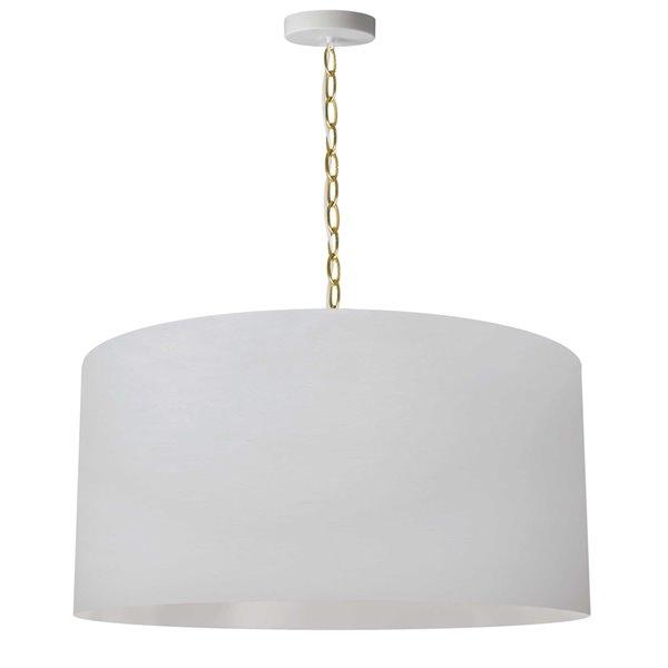 Luminaire suspendu transitionnel blanc et laiton antique Braxton par Dainolite de 26 po