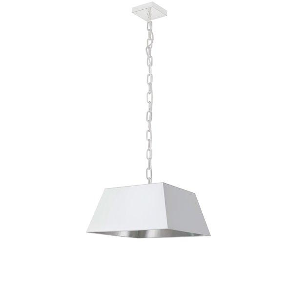 Luminaire suspendu moderne/contemporain carré blanc et argent Milano par Dainolite de 14 po