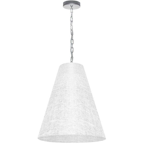 Luminaire suspendu transitionnel blanc et chromé Anaya par Dainolite de 20 po