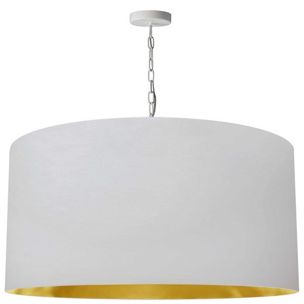 Luminaire suspendu transitionnel blanc et doré Braxton par Dainolite, 32 po