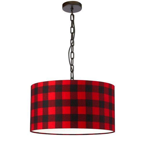Luminaire suspendu transitionnel noir et rouge Braxton par Dainolite de 20 po