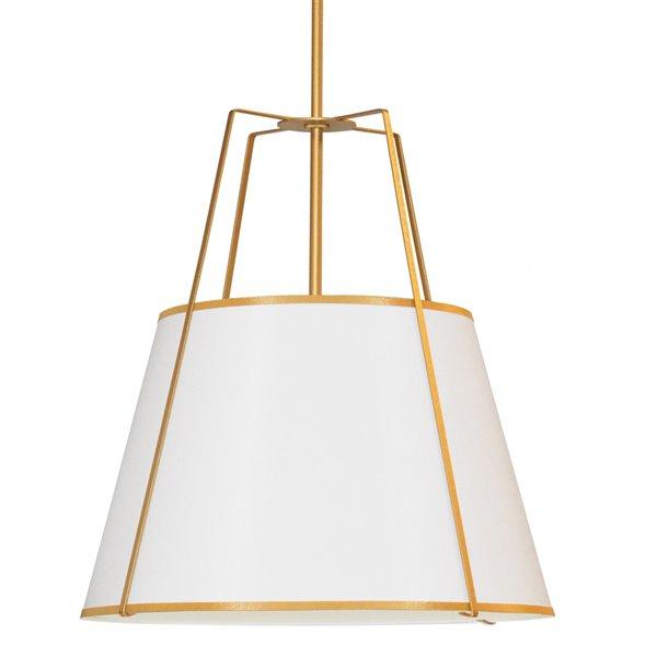 Luminaire suspendu moderne/contemporain blanc et doré Trapezoid par Dainolite de 30 po