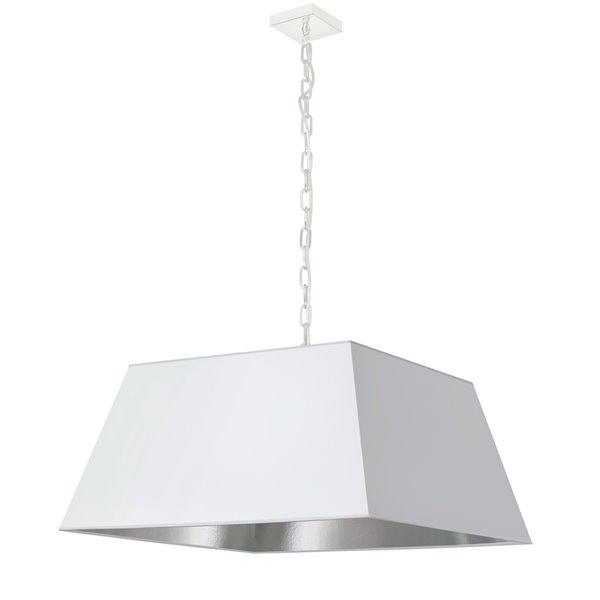 Luminaire suspendu moderne/contemporain blanc et argent Milano par Dainolite, 26 po