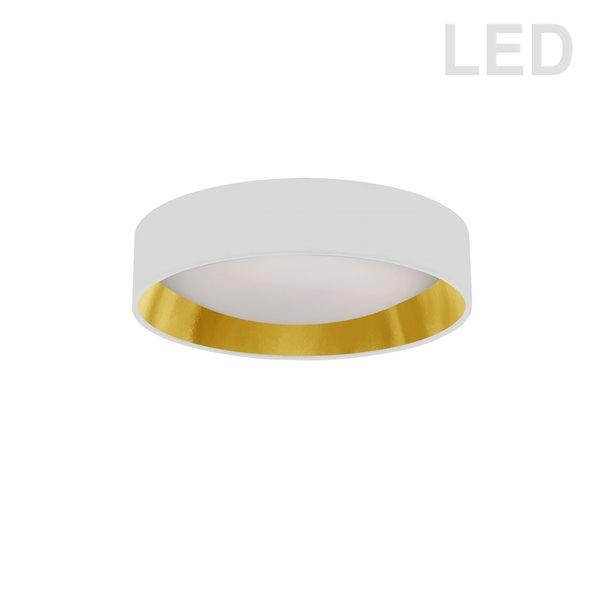 Plafonnier de 11 po de style moderne/contemporain blanc/doré à système à DEL intégré de Dainolite