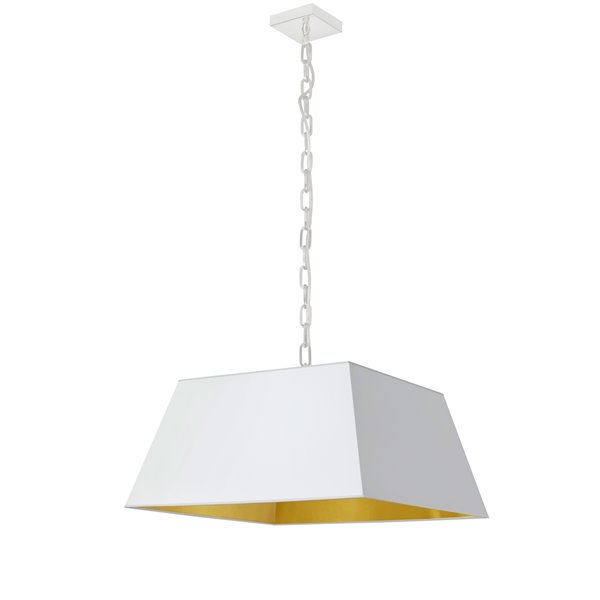 Luminaire suspendu moderne/contemporain carré blanc et doré Milano par Dainolite, 20 po