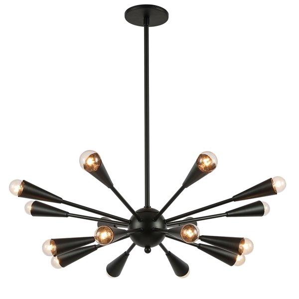 Lustre moderne/contemporain Fortuna noir mat à 16 lumières par Dainolite