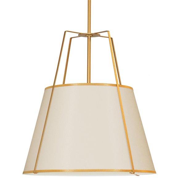 Luminaire suspendu moderne/contemporain crème et doré Trapezoid par Dainolite de 30 po