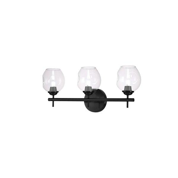 Luminaire pour meuble-lavabo transitionnel à 3 lumières Abii par Dainolite de 21 po, noir
