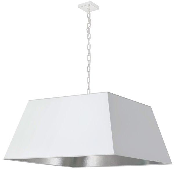 Luminaire suspendu moderne/contemporain carré blanc et argent Milano par Dainolite de 32 po