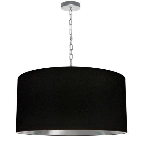 Luminaire suspendu transitionnel noir et argent Braxton par Dainolite, 26 po