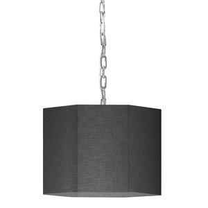 Luminaire suspendu transitionnel noir et chromé Octavia par Dainolite de 16 po