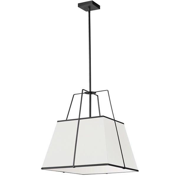 Luminaire suspendu moderne/contemporain blanc et noir Trapezoid par Dainolite de 18 po