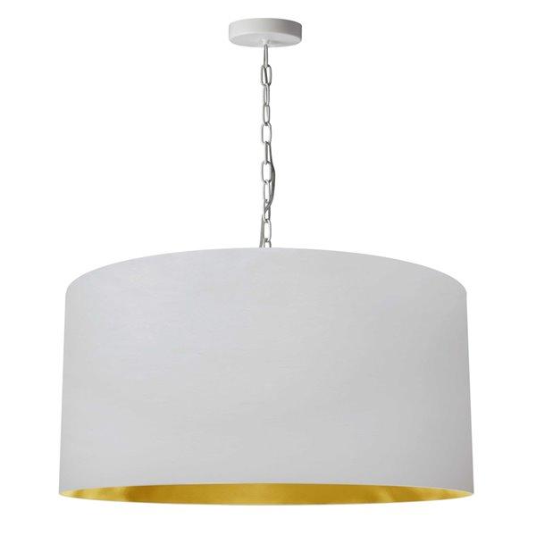 Luminaire suspendu transitionnel de 26 po blanc et doré Braxton par Dainolite