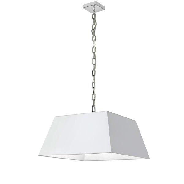 Luminaire suspendu moderne/contemporain blanc et chromé Milano par Dainolite de 20 po