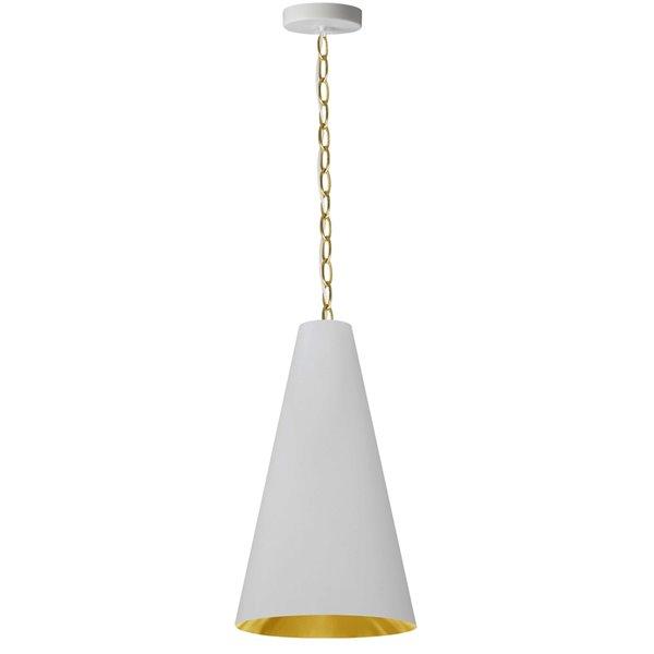 Luminaire suspendu transitionnel blanc et doré Anaya par Dainolite de 12 po