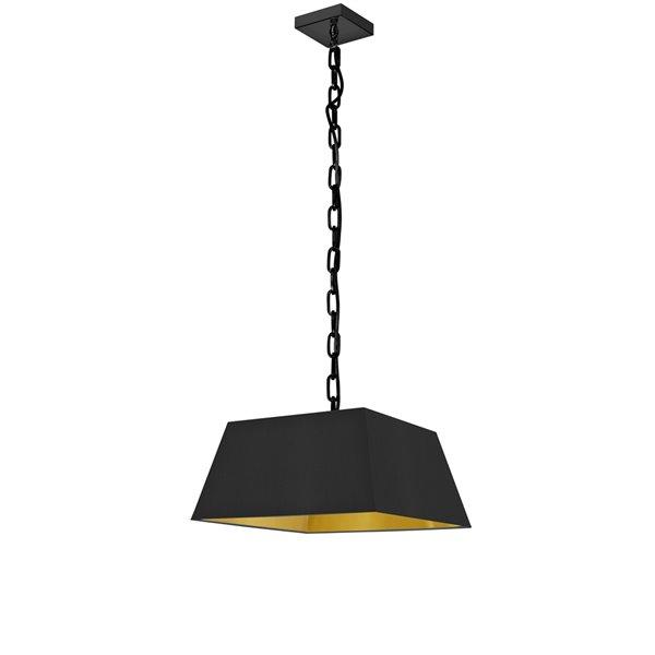 Luminaire suspendu moderne/contemporain carré noir et doré Milano par Dainolite de 14 po