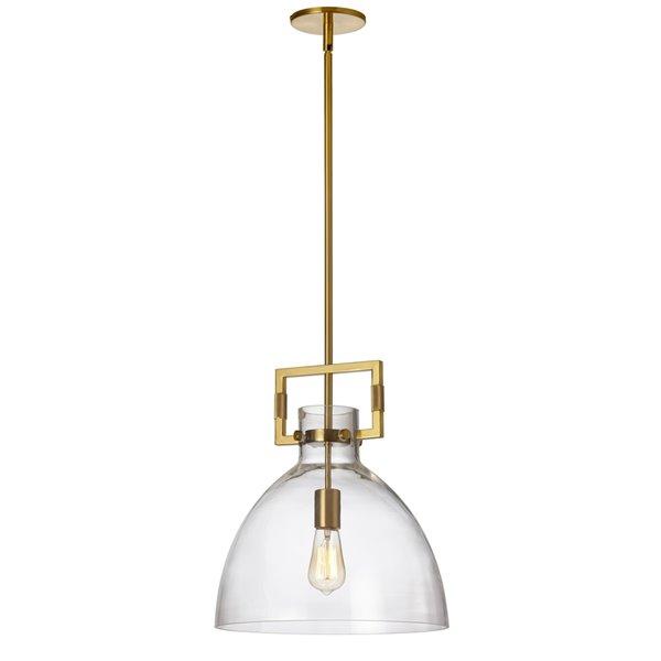 Luminaire suspendu moderne en laiton Liberty par Dainolite de 13,75 po avec verre transparent