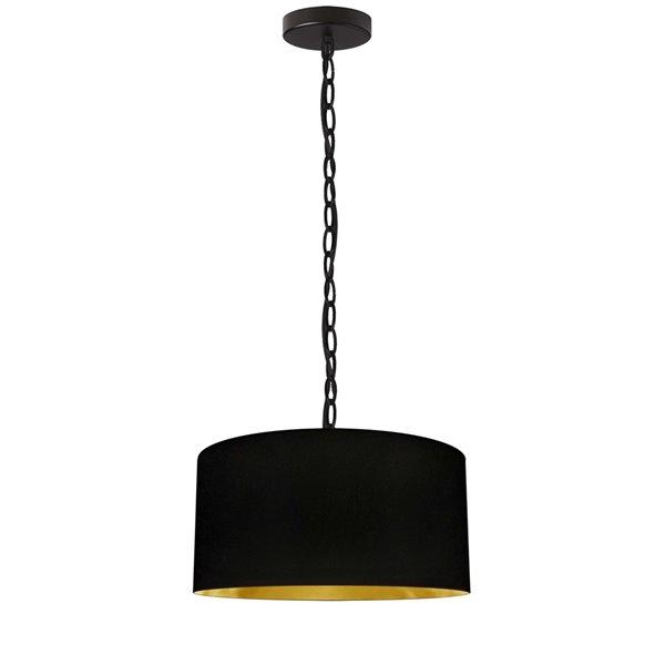 Luminaire suspendu transitionnel de 14 po noir et doré Braxton par Dainolite