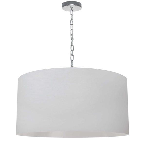 Luminaire suspendu transitionnel blanc et chromé Braxton par Dainolite de 26 po
