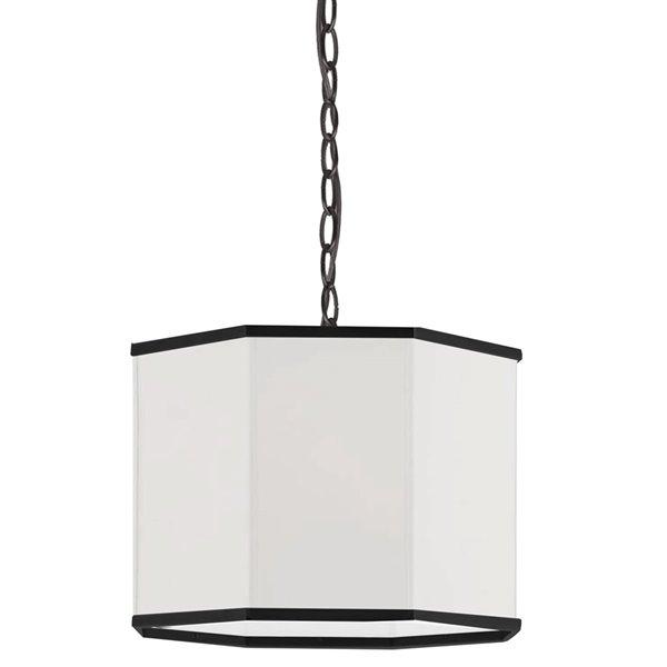 Luminaire suspendu transitionnel blanc et noir mat Octavia par Dainolite de 16 po