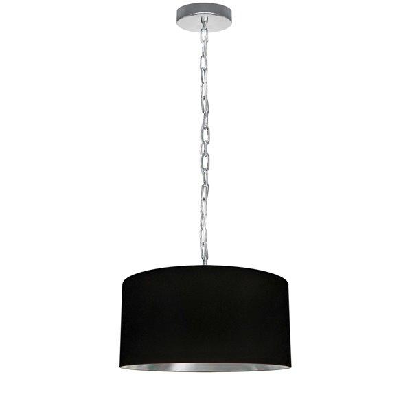 Luminaire suspendu transitionnel noir et argent Braxton par Dainolite, 14 po