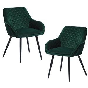 FurnitureR Rabiot Set of 2 Green Contemporary Velvet Upholstered Side Chair (Metal Frame)