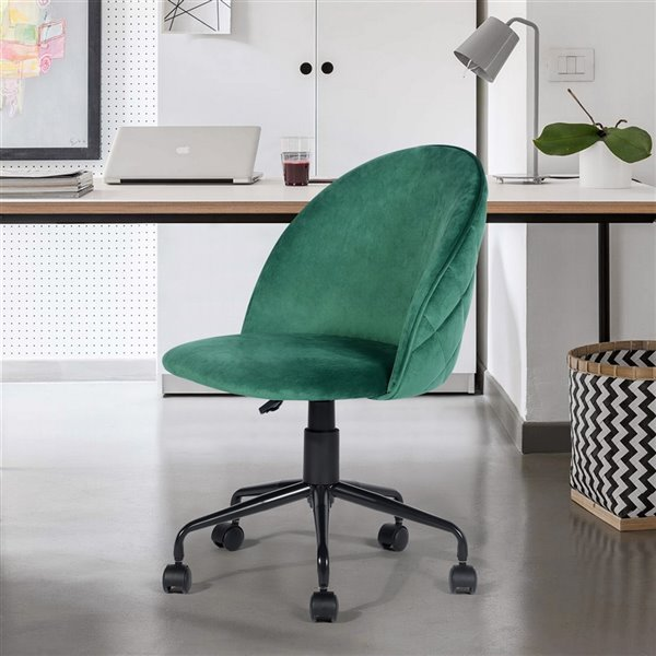 Chaise de bureau pivotante contemporaine et ergonomique avec hauteur réglable Romba de FurnitureR, vert