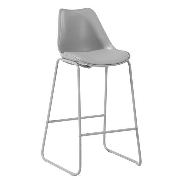 Tabouret de bar Russ gris à hauteur de bar (27 po à 35 po) par FurnitureR, ens. de 2