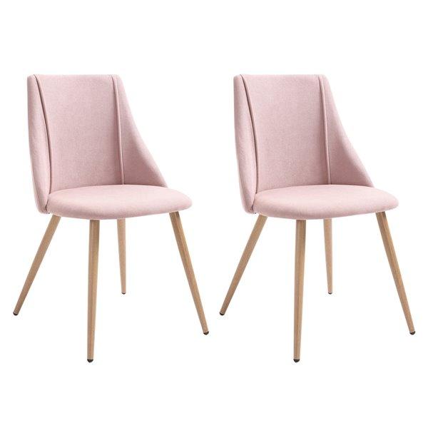 Chaise d'appoint contemporaine rembourrée en polyester/mélange de polyester Smeg de FurnitureR et cadre en métal, rose, 2 pi